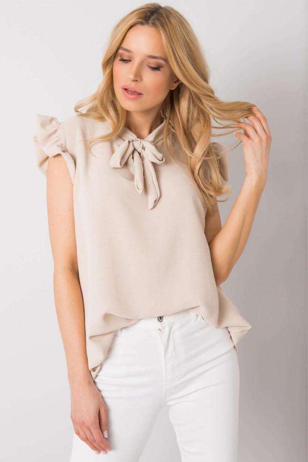 Beżowa bluzka z wiązaniem Imelda