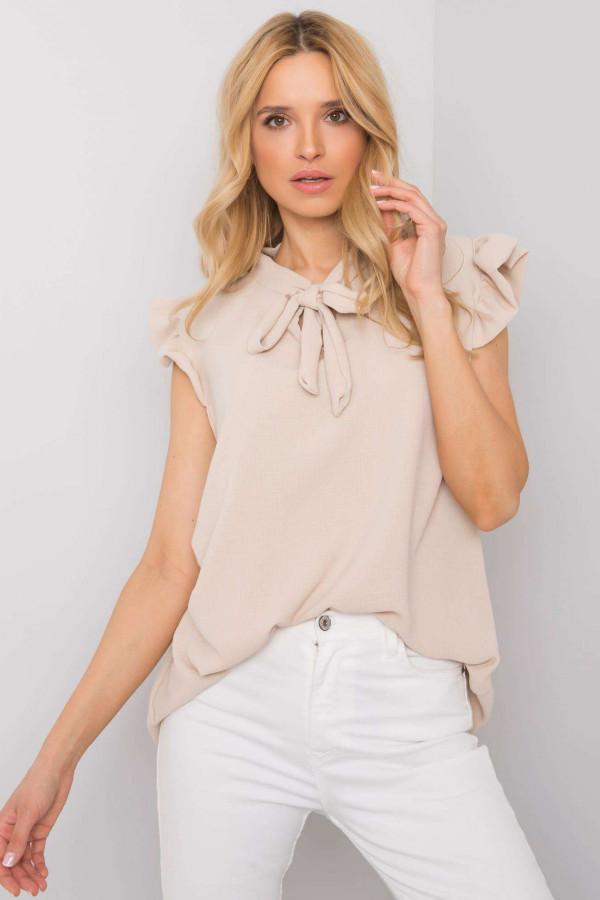 Beżowa bluzka z wiązaniem Imelda 3