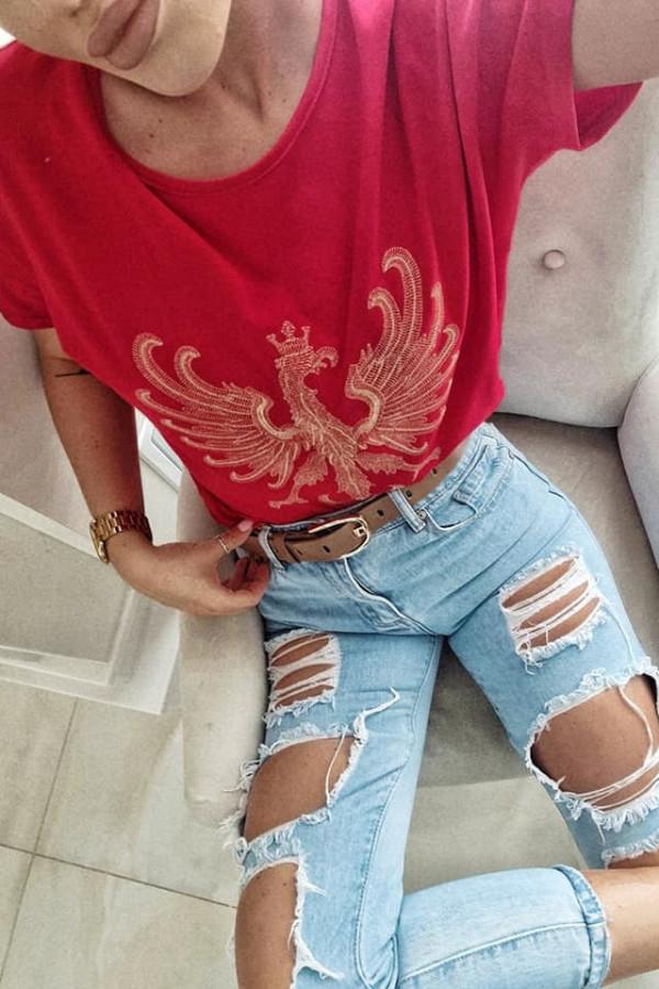 Czerwony T-shirt z Orłem 1