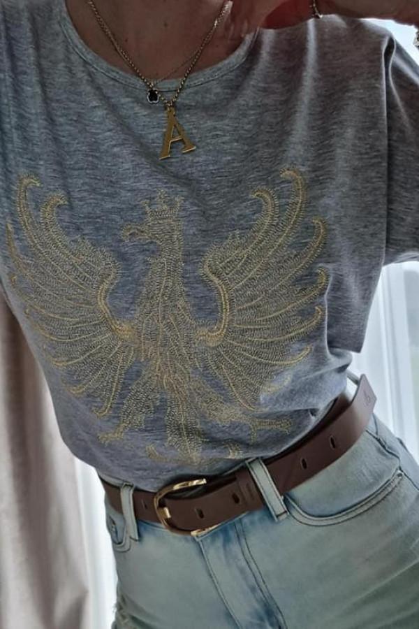 Szary T-shirt z Orłem