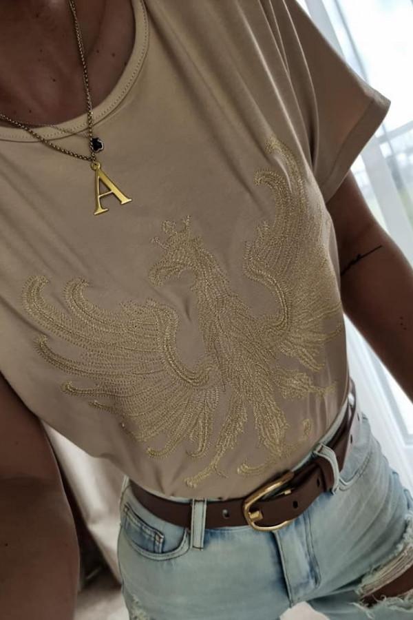 Beżowy T-shirt z Orłem