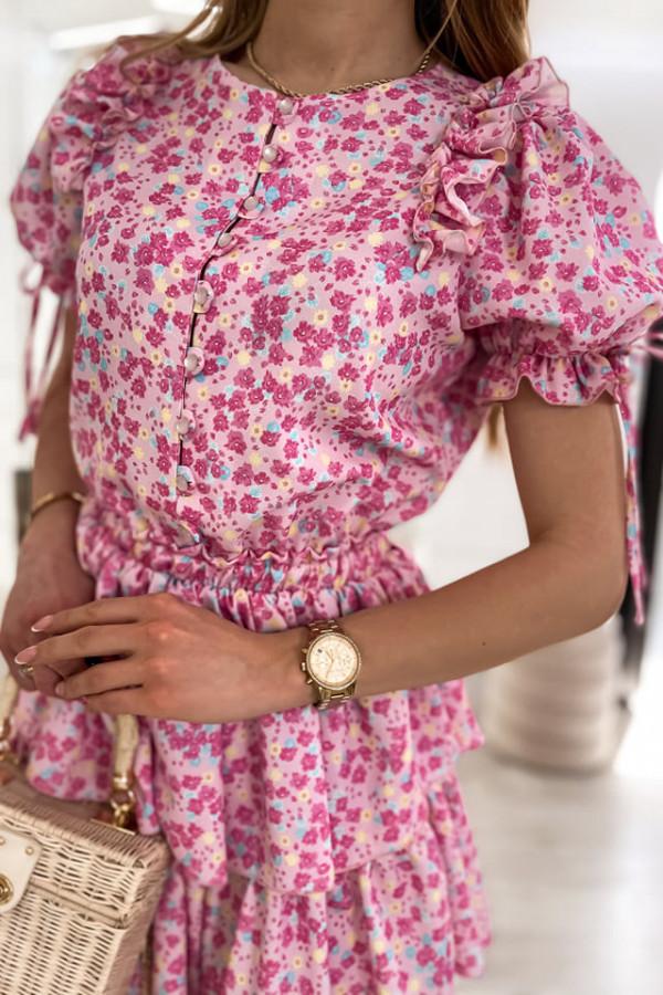 Sukienka różowa w drobne kwiatuszki