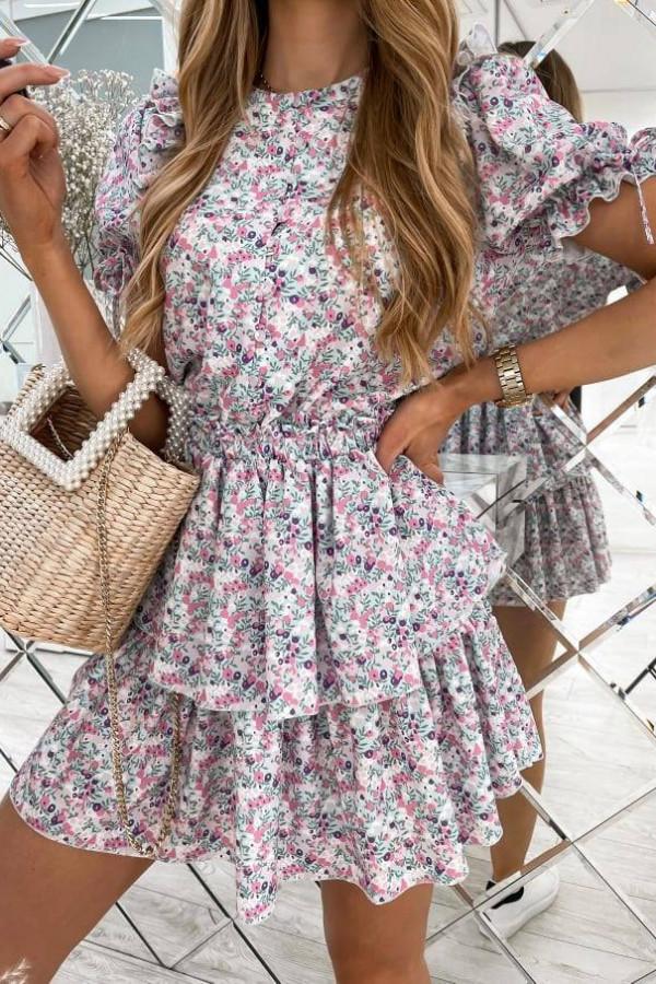 Sukienka w różowe kwiatuszki na szarym tle