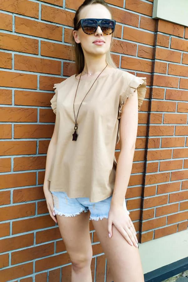 Bluzka Maddie camelowa z naszyjnikiem