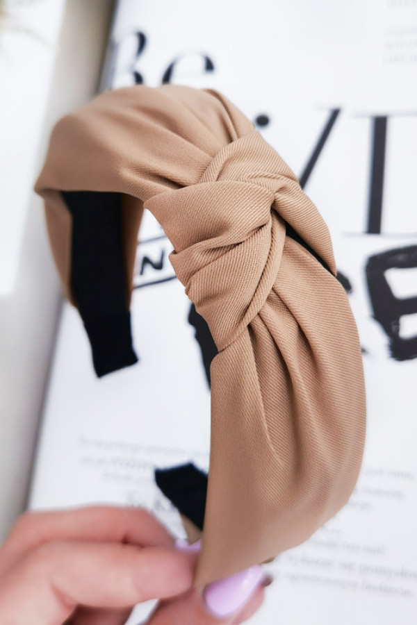 Opaska turban materiał klasyk gruba beż