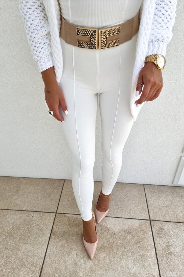 Leginsy białe z zamkiem