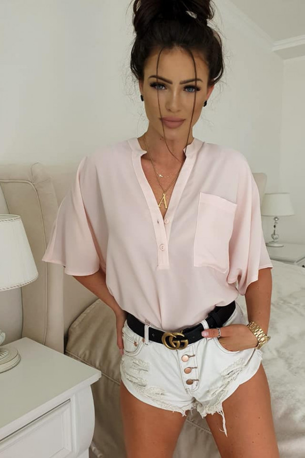 Bluzka oversize jasny róź 1