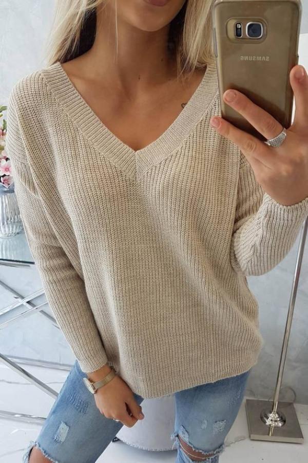 Sweter z dekoltem V jasny beżowy