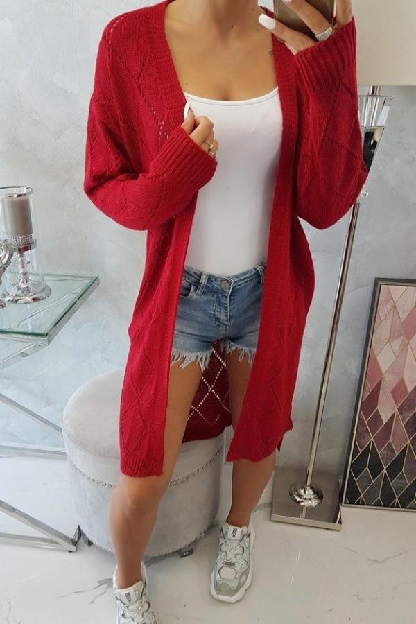 Sweter z geometrycznym wzorem czerwony