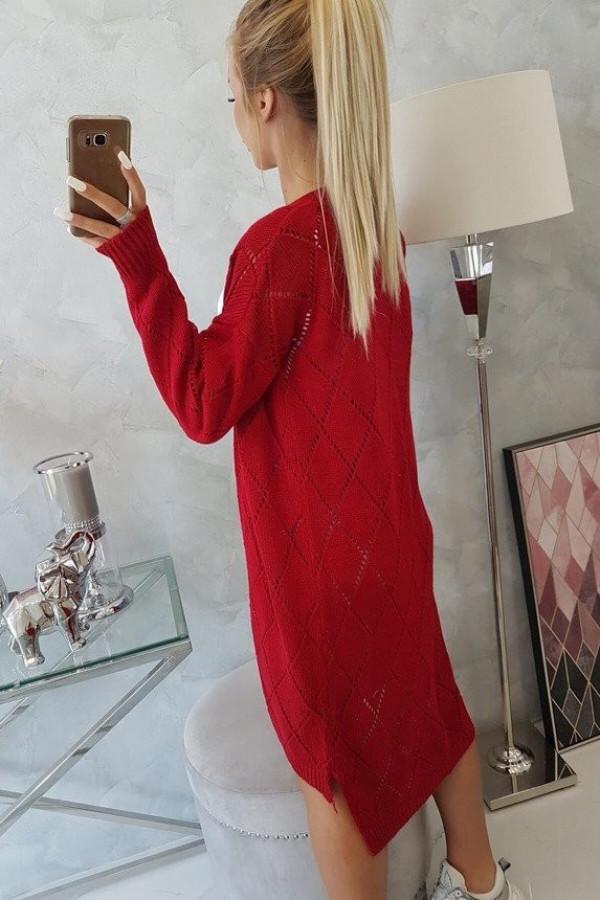 Sweter z geometrycznym wzorem czerwony 1