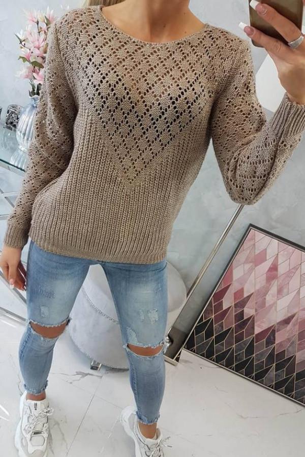 Sweter z ażurowym zdobieniem cappuccino