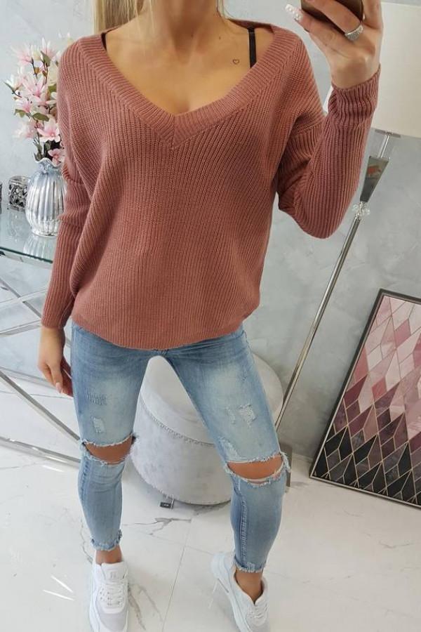 Sweter z dekoltem V ciemny różowy