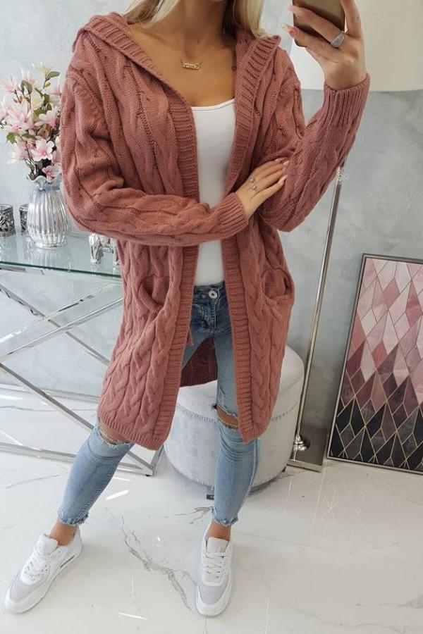 Sweter z kapturem i kieszeniami ciemny różowy