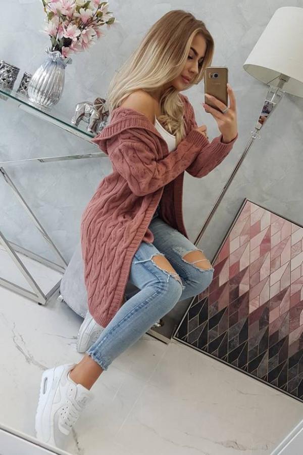 Sweter z kapturem i kieszeniami ciemny różowy 1