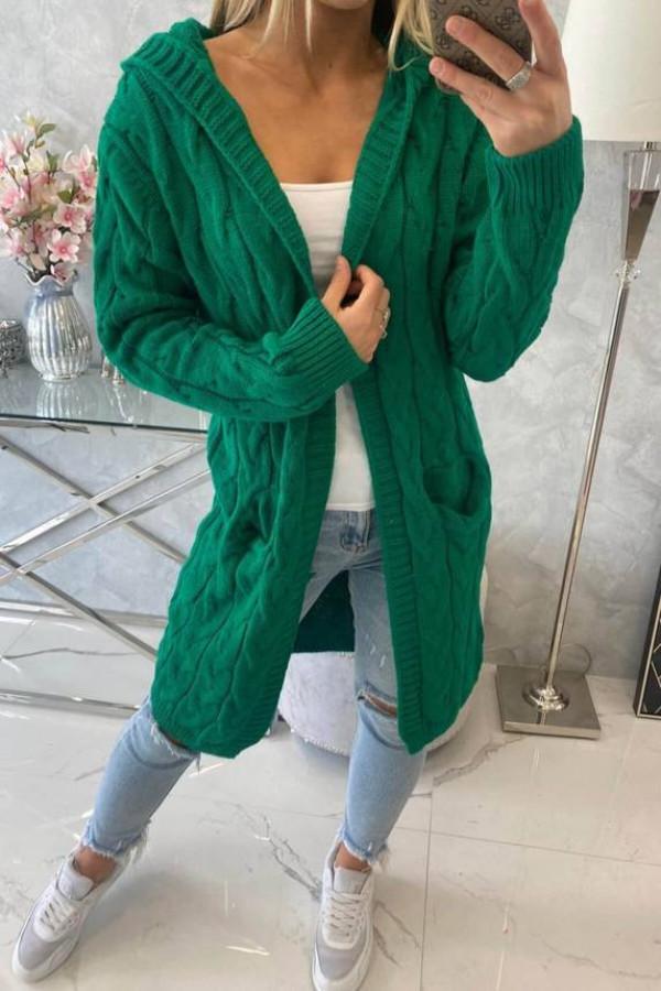 Sweter z kapturem i kieszeniami jasny zielony