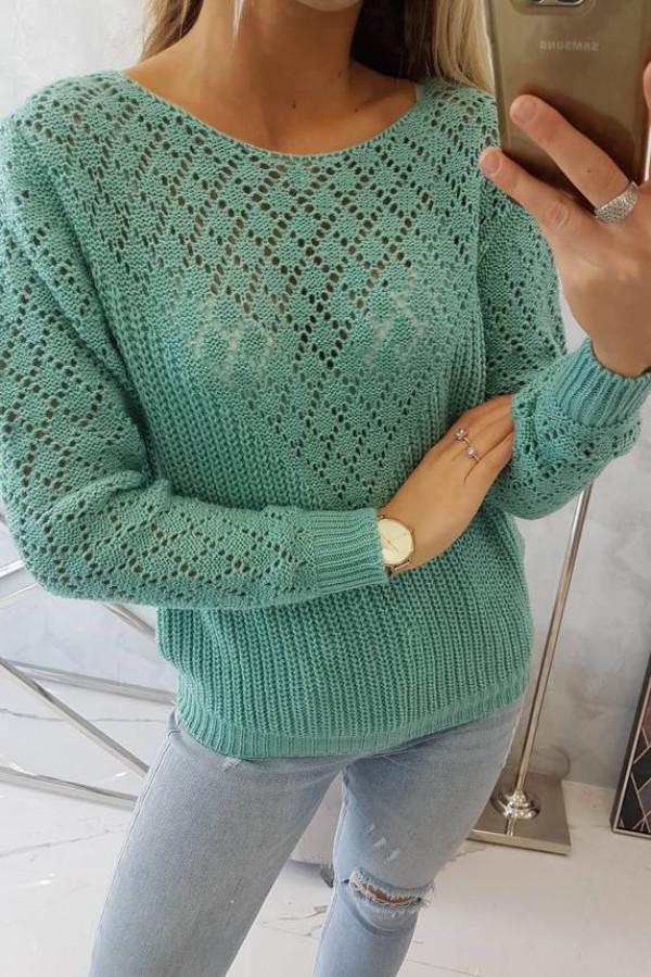 Sweter z ażurowym zdobieniem jasno zielony