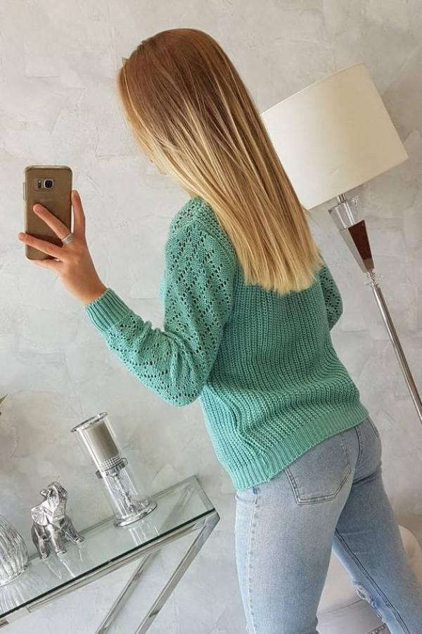 Sweter z ażurowym zdobieniem jasno zielony 1