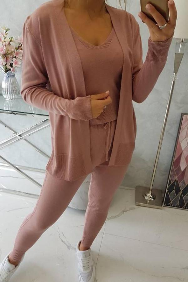 Komplet sweterkowy 3-częściowy ciemny różowy