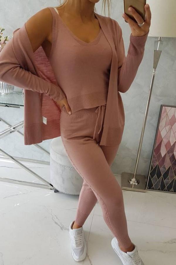 Komplet sweterkowy 3-częściowy ciemny różowy 1