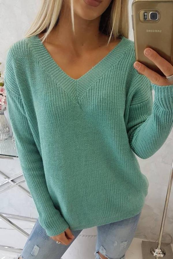 Sweter z dekoltem V jasno zielony