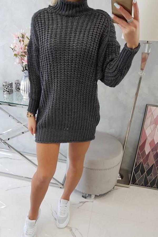 Sweter Sukienka z golfem grafitowy