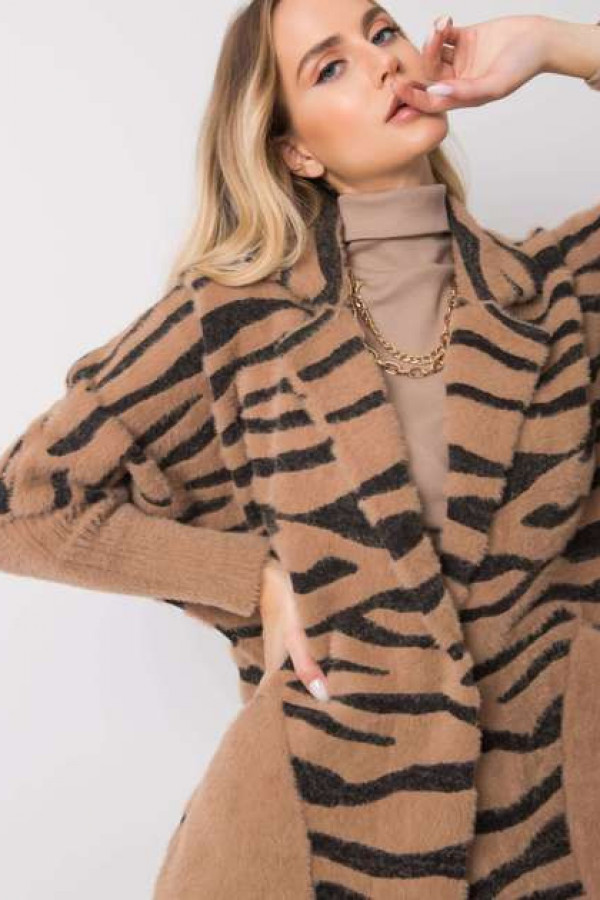 Ciemnobeżowy płaszcz alpaka Keysee