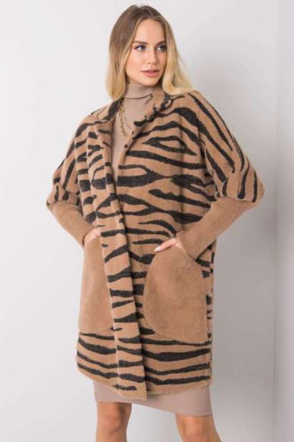 Ciemnobeżowy płaszcz alpaka Keysee 1