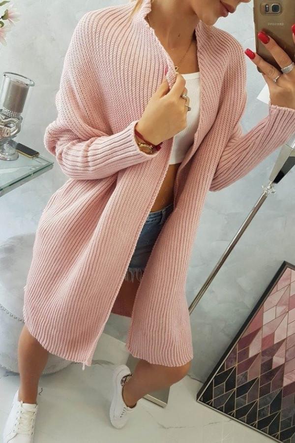 Sweter z rękawami typu nietoperz pudrowy róż