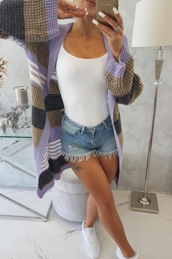 Sweter z rozszerzanymi rękawami fioletowy z cappuccino