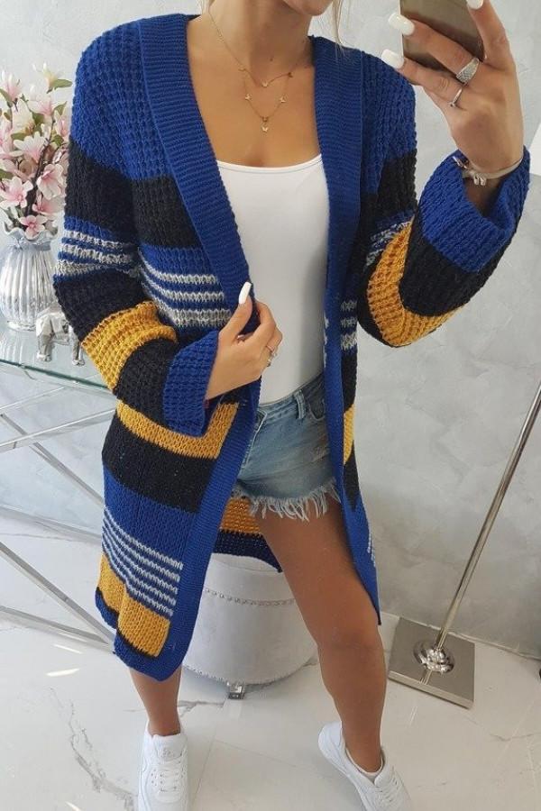Sweter z rozszerzanymi rękawami chabrowy z czarnym