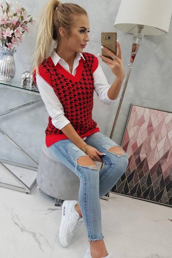 Sweter bezrękawnik w pepitkę czerwony