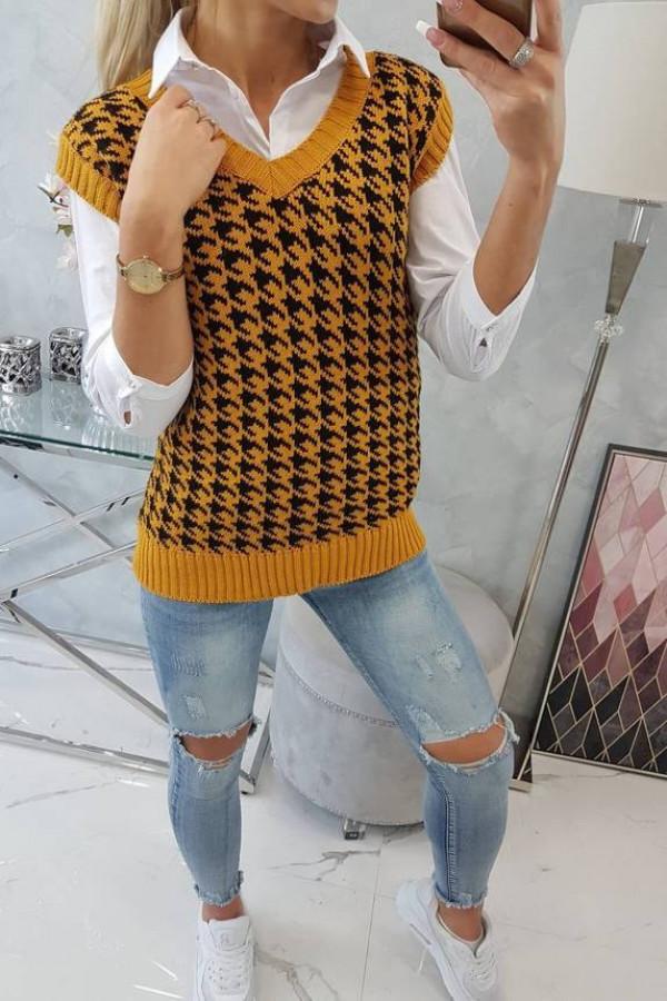 Sweter bezrękawnik w pepitkę musztardowy