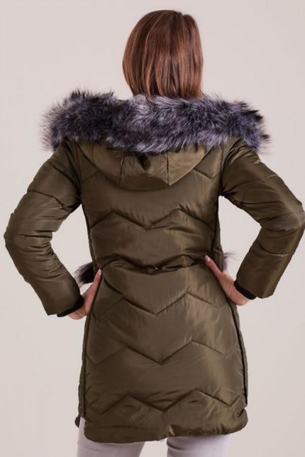 Zimowa kurtka z futrzanym wykończeniem khaki 1
