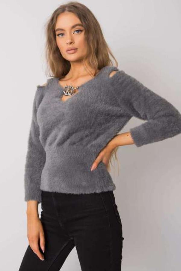Ciemnoszary sweter z wycięciami Leandre 1