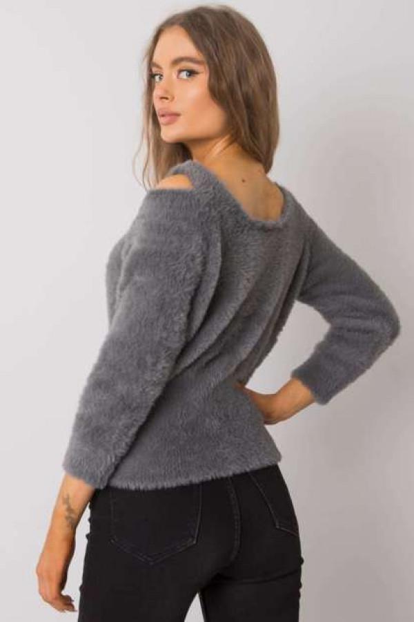 Ciemnoszary sweter z wycięciami Leandre 2