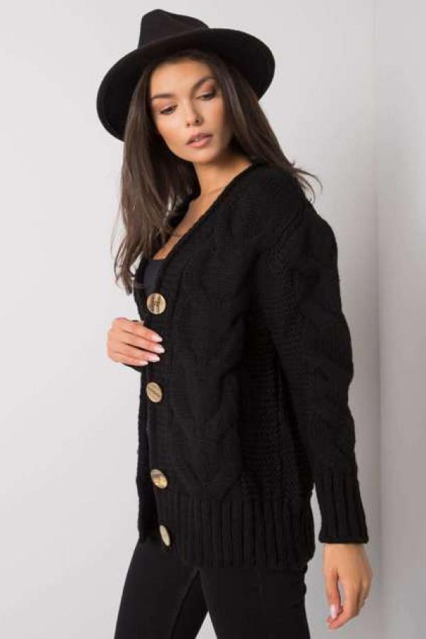 Czarny sweter na guziki Louissine 1