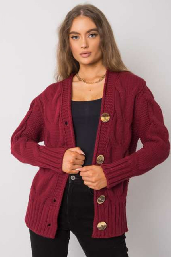 Bordowy sweter na guziki Louissine