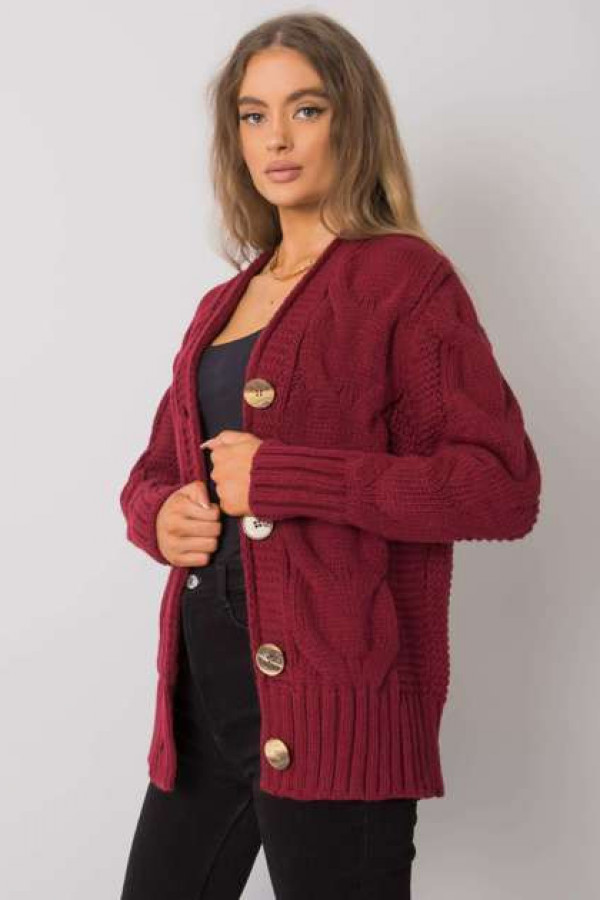 Bordowy sweter na guziki Louissine 1
