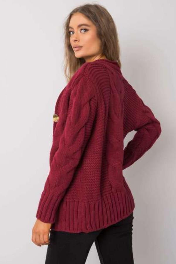 Bordowy sweter na guziki Louissine 2