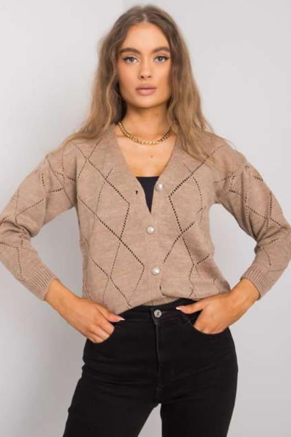 Ciemnobeżowy sweter rozpinany Elisabete