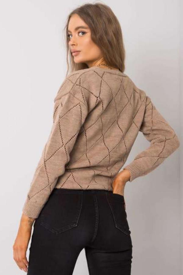 Ciemnobeżowy sweter rozpinany Elisabete 2