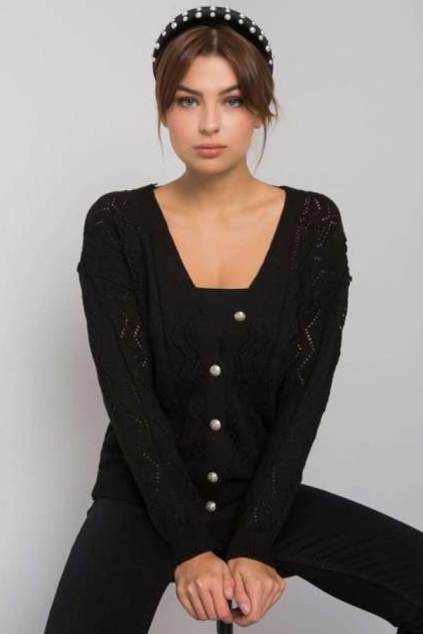 Czarny sweter na guziki Gregoire