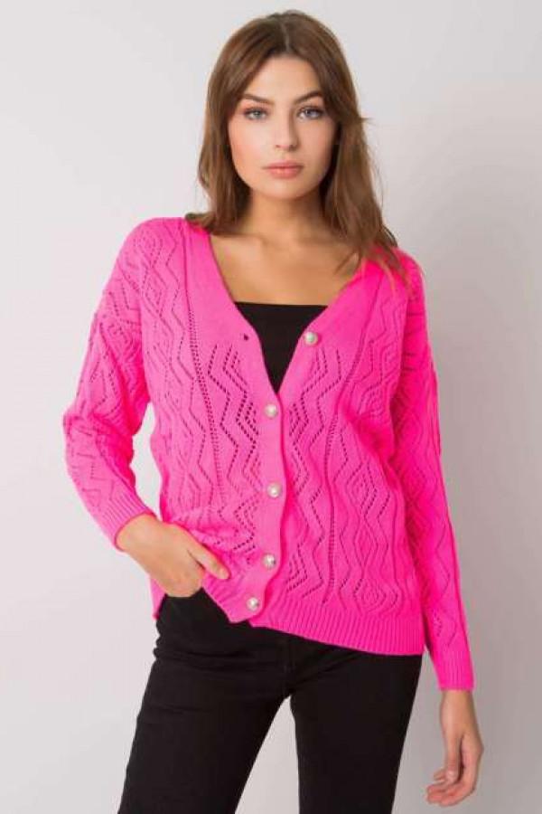 Fluo różowy sweter na guziki Gregoire