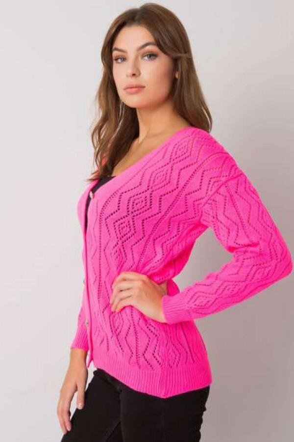 Fluo różowy sweter na guziki Gregoire 1
