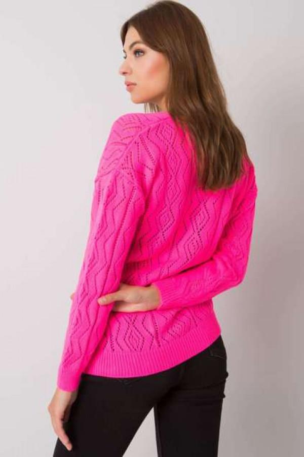 Fluo różowy sweter na guziki Gregoire 2