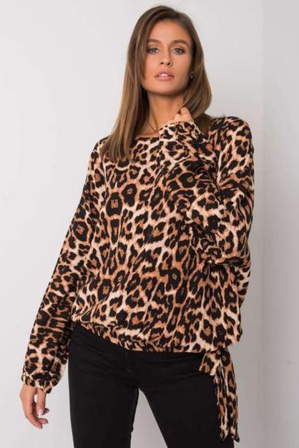 Brązowo-czarna bluzka w panterkę Liora
