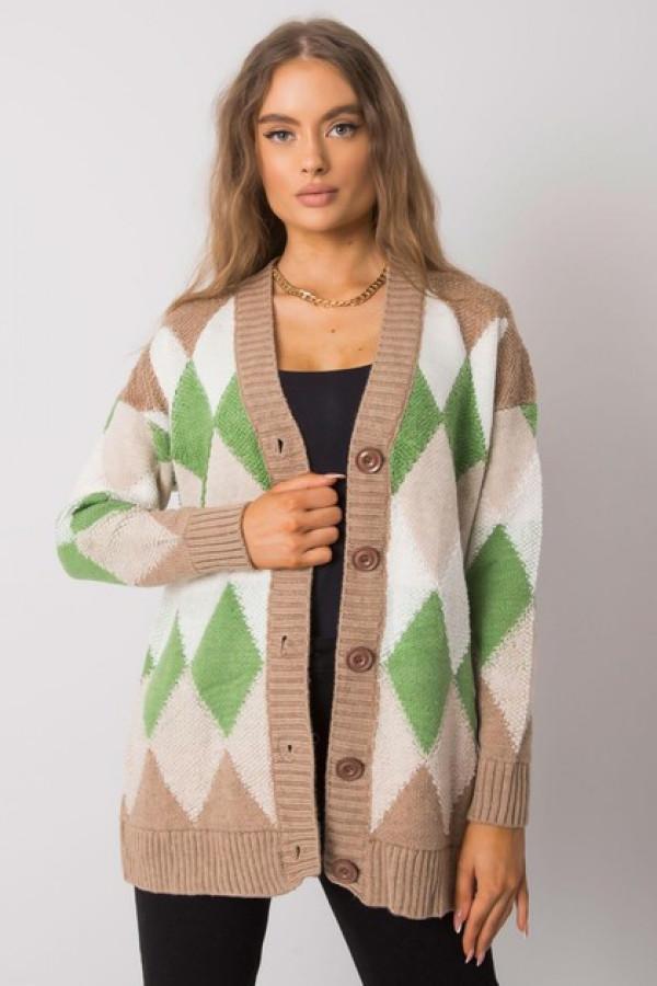 Ciemnobeżowo-zielony sweter na guziki Arden