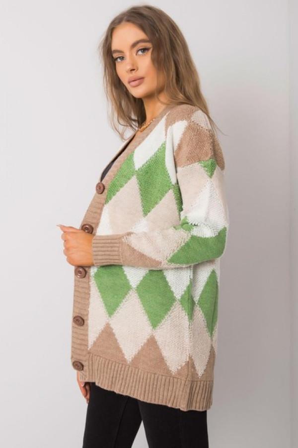 Ciemnobeżowo-zielony sweter na guziki Arden 1