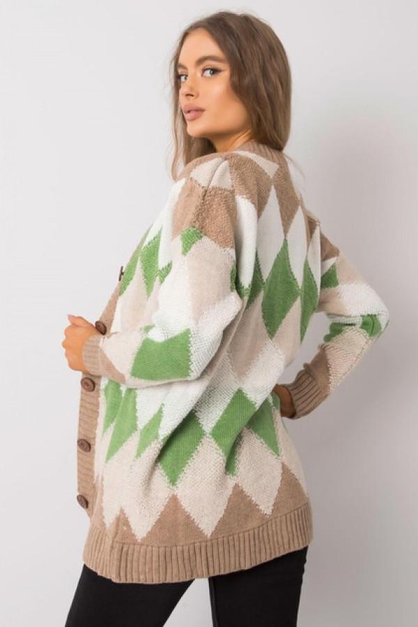 Ciemnobeżowo-zielony sweter na guziki Arden 2