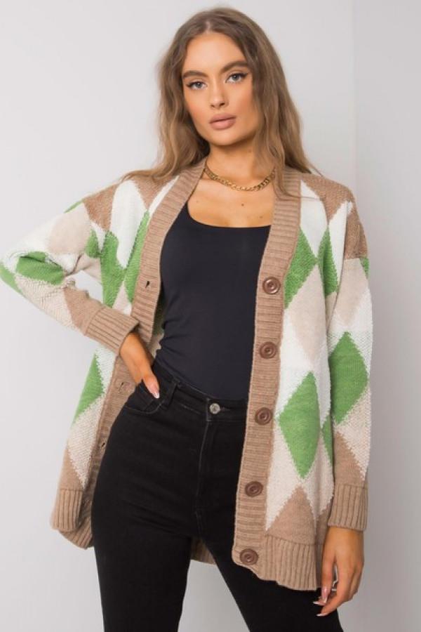 Ciemnobeżowo-zielony sweter na guziki Arden 3